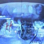 Schöpfung - Welt innen - Welt außen Mensch - Leiden des jungen Werther, Pigmente, Acryl, Sand, Öl auf Leinwand, 2-teilig 200 x 200 cm 2012